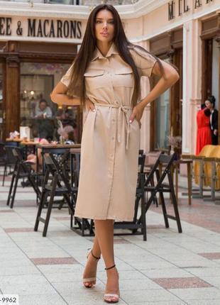 Летнее льняное платье-рубашка