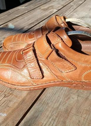 Легкие, комфортные туфли на липучке из натуральной кожи 43-44