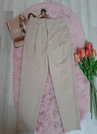 Трендовые нюдовые брюки штаны с высокой посадкой zara р.м(новые!)