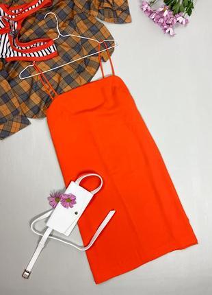 Оранжевый сарафан на тонких бретельках h&m