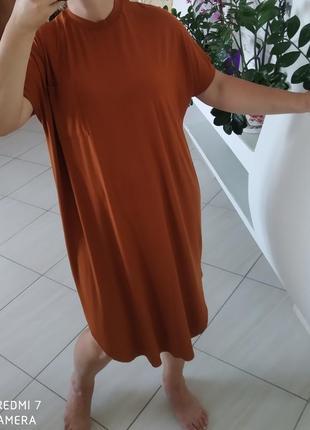 Плаття футболка міді гірчичного кольору