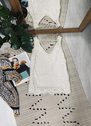 Красива біла блуза з мереживом від oasis🌿