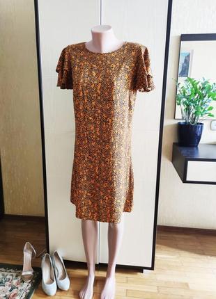Платье с рюшами звериный принт 12  papaya