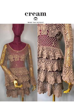 Вязаное пляжное платье туника сетка кружевная плетение в стиле бохо owens ручная вязка крючком