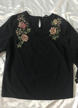 Блуза рубашка с вышивкой 14 размера