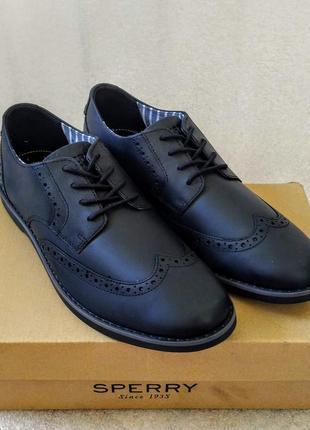 Мужские туфли sperry newman wing tip black натуральная кожа оригинал