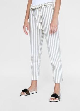 Полосатые брюки штаны с завязками хлопок zara
