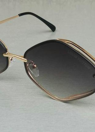 Louis vuitton модные солнцезащитные очки унисекс узкие серый градиент в золотом металле