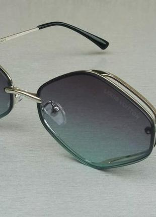 Louis vuitton стильные солнцезащитные очки унисекс узкие серо синий градиент в серебристом металле