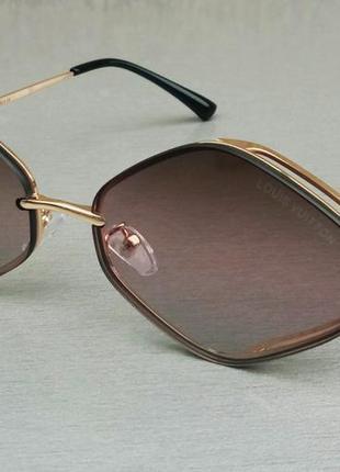 Louis vuitton стильные женские солнцезащитные очки узкие коричнево розовый градиент в золотом металле