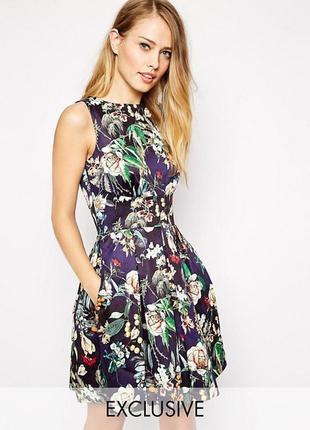 Лакшери дизайнерское дорогое платье в цветочный принт