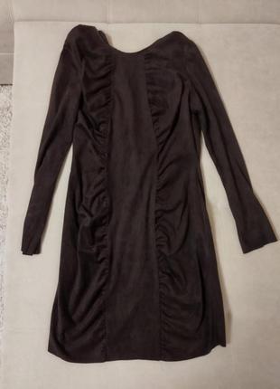 Сукня плаття платье коричневое шоколадное темное искусственный замш кожзам зара zara2 фото