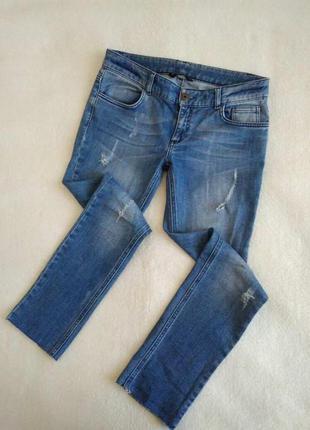 Качественные джинсы -бойфренды с дырками, рваные