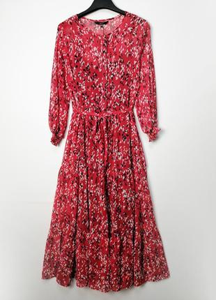 Легкое летнее красное шифоновое платье с поясом и красивым рукавом