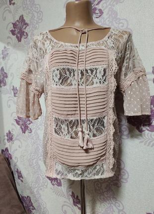 Кружевная блуза пудрового цвета от new look р-р - l.