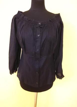 Батистовая черная блуза кофта dkny jeans раз.10-12