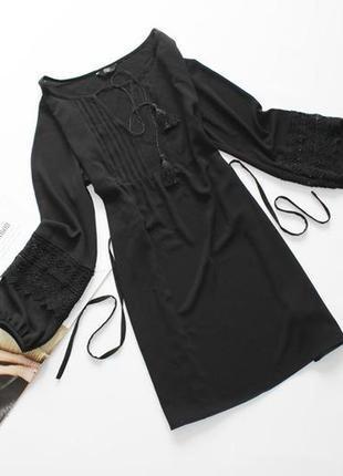 Шикарное платье свободного кроя с обьемными рукавами, кружево батал