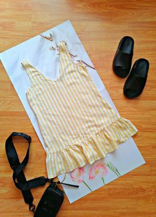 Женская летняя льняная туника - блуза в полоску с высокой оборкой - размер 42-44