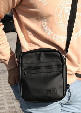 Качественная мужская сумка месенджер черная с экокожи унисекс sambag барсетка