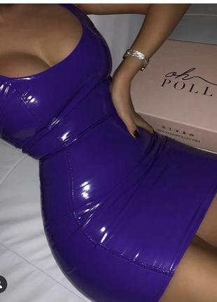 Виниловое платье oh polly 💜 клубное латексные платье. лакова сукня