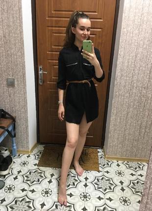 Платье-рубашка, платье, чёрное платье