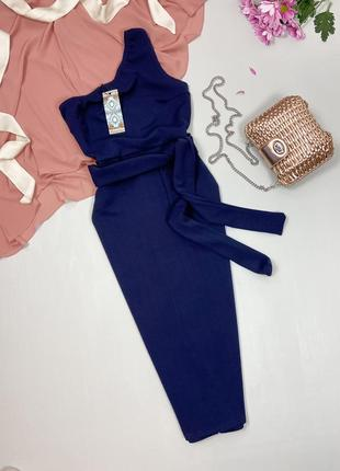 Синее платье - миди на одно плечо boohoo