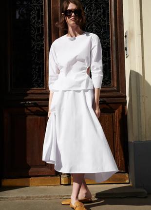 Белый костюм блуза и юбка хлопок из поплина zara