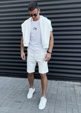 Летний комплект шорты футболка мужская белый стильный