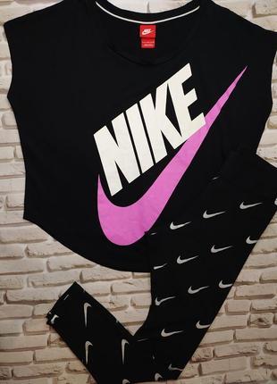 Nike женская футболка с большим логотипом спортивная майка оверсайз