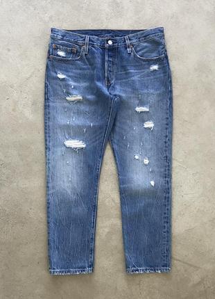 Рваные джинсы levis 501 ct distressed denim1 фото