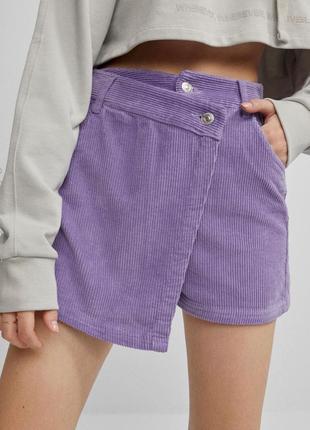 Лавандовые вельветовые шорты юбка на высокой посадке
