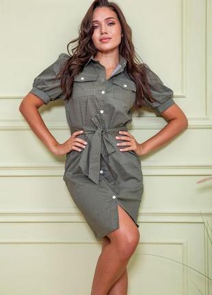 Платье-рубашка цвет хаки