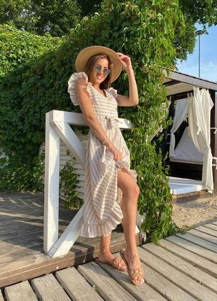 Льняное летнее платье миди🤍натуральный лён👍