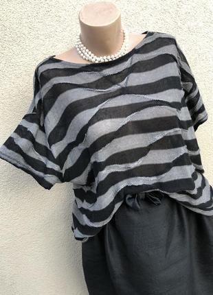 Трикотаж блуза реглан,кофточка в полоску,большой размер,италия,monari