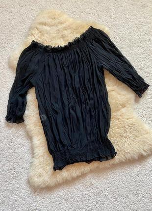 Чёрная прозрачная блуза sandro ferrone, италия