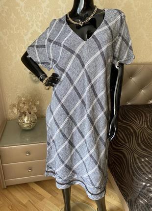 Платье лён миди, серое в клетку размер 48-50