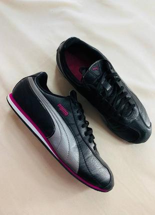 Женские чёрные кожаные кроссовки puma(оригинал)