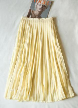 Желтая плиссированная юбка миди женская autograph, размер l