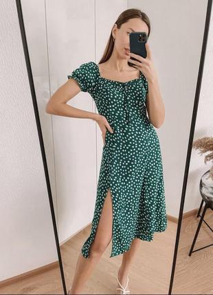 Платье с разрезом зелёное в ромашках, летний сарафан изумрудный