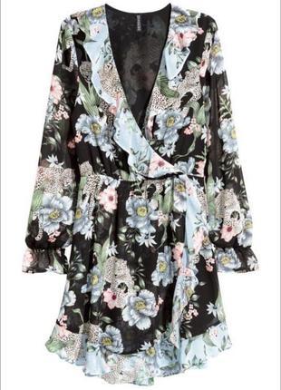 H&m платье на запах с цветочным принтом и рюшами