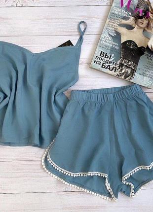 Пижама голубая штапель шорты майка