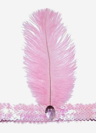 Повязка с пером чикаго стиль 20-х гетсби розовая