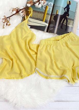 Пижама желтая штапель шорты майка