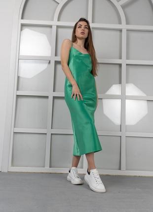 Midi платье из плотного атласа