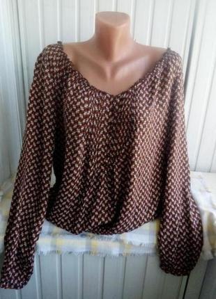 Тоненькая вискозная блуза большого размера батал