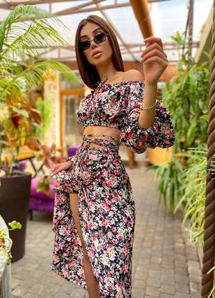 Нереальный летний костюм топ+юбка миди на запах в цветочный принт штапель