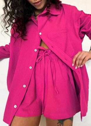 Женский малиновый костюм из муслина рубашка + шорты