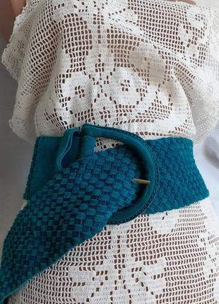 🦋 ремень пояс натуральная 100% кожа замш плетеный замшевый с пряжкой индиго морская волна