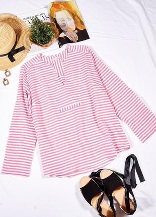Женская летняя рубашка в полоску, полосатая рубашка, льняная рубашка, сорочка