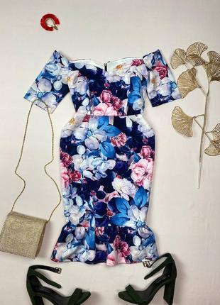 Синее платье в цветы на плечи paper dolls